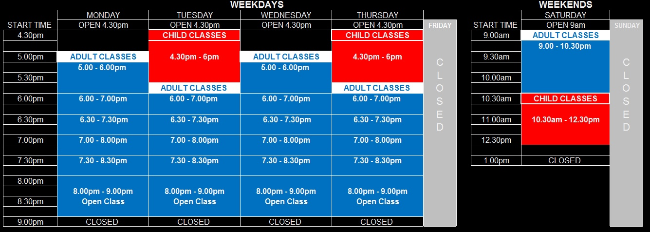 Perth Martial Arts Timetable