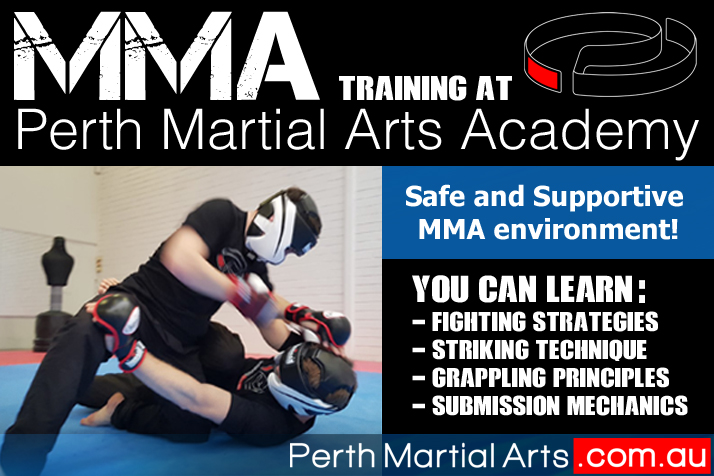 Two MMA Practitioners in Black shirts and protective gear